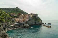 La città di Manarola in Cinque Terre, Italia Immagini Stock Libere da Diritti