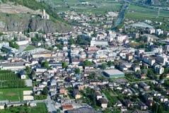 La città di Martigny Fotografia Stock