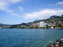 La città di Montreux sul lago Lemano Immagini Stock