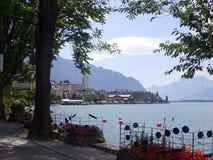 La città di Montreux sul lago Lemano Immagini Stock Libere da Diritti