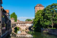 La città di Norimberga avvista Henkermeile immagini stock libere da diritti