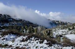 La città di Safed ha coperto di neve fotografia stock libera da diritti