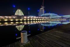 La città di spiaggia di Bremerhaven alla notte Immagini Stock Libere da Diritti