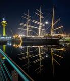 La città di spiaggia di Bremerhaven alla notte Fotografie Stock