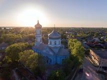 La città di Vilkovo, regione di Odessa, Ucraina, vista aerea ad ora legale Fotografia Stock Libera da Diritti
