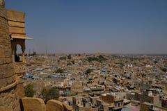 La città dorata di Jaisalmer nel Ragiastan, India fotografie stock