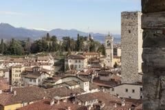 La città medievale di Bergamo Fotografia Stock