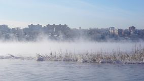 La città in mezzo del fiume nebbioso video d archivio