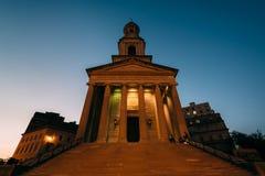 La città nazionale Christian Church alla notte, a Thomas Circle dentro era Fotografia Stock Libera da Diritti