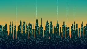 La città online La città digitale futuristica astratta, nuvola si è collegata, fondo alta tecnologia, ciclo senza cuciture
