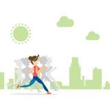 La città pareggiante di funzionamento della donna esegue lo sport di maratona di addestramento Immagine Stock