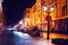 La città pedonale di notte della via del ‹del †del ‹del †della città si accende Fotografie Stock