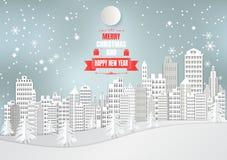 La città per il Natale condisce con il fiocco di neve e l'albero Stile di arte della carta dell'illustrazione di vettore Immagini Stock