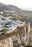 La città piacevole di Chora su Folegandros Fotografia Stock Libera da Diritti