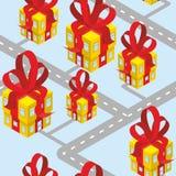 La città presenta il modello senza cuciture Costruzione del contenitore di regalo con la b rossa Fotografia Stock