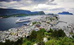 La città di Bergen Fotografia Stock Libera da Diritti