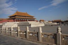 La citt? severa a Pechino, Cina Palazzo imperiale cinese da Ming Dynasty Vista sopra Harmony Square con il Corridoio di immagine stock libera da diritti