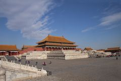 La citt? severa a Pechino, Cina Palazzo imperiale cinese da Ming Dynasty Vista sopra Harmony Square con il Corridoio di immagini stock