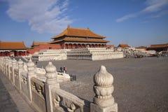 La citt? severa a Pechino, Cina Palazzo imperiale cinese da Ming Dynasty Vista sopra Harmony Square con il Corridoio di fotografia stock