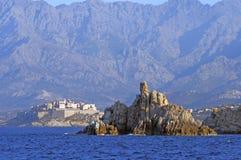 La cittadella di Calvi veduta dal mare Fotografia Stock