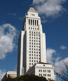 LA City Hall. Historic Los Angeles City Hall with a partly cloudy sky Royalty Free Stock Photos
