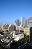 LA city at sunrise. View of downtown Los Angeles royalty free stock photography