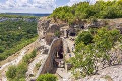 La ciudad única de la col rizada de Chufut, un destino turístico de la cueva fotos de archivo libres de regalías