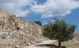 La ciudad antigua de Mycenae en la península Peloponeso Grecia 06 19 2014 Paisaje de las ruinas del architectu del griego clásico Fotografía de archivo