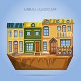 La ciudad contiene fachadas Paisaje urbano del diseño plano Fotos de archivo