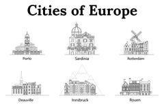 La ciudad de Europa, Innsbruck, Cerdeña, Rotterdam, Deauville, Ruán, Oporto Casas europeas Diversos tamaños y construcciones stock de ilustración