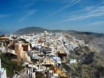 La ciudad de Fira, isla de Santorini, Italia Imagen de archivo