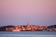 La ciudad de Korcula en Croacia imagenes de archivo