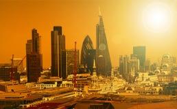 La ciudad de Londres uno de los centros principales de la opinión global de finance Imágenes de archivo libres de regalías