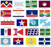 La ciudad de los E.E.U.U. señala vector por medio de una bandera Foto de archivo libre de regalías