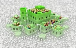 La ciudad de los edificios de la muchedumbre de la historieta, cubre verde libre illustration