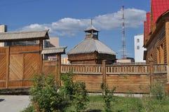 La ciudad de madera vieja, Yakutsk Foto de archivo libre de regalías