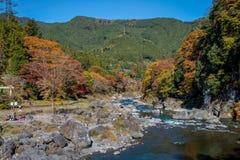 La ciudad de Mitake y el río de Tama en otoño sazonan Imágenes de archivo libres de regalías