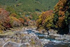 La ciudad de Mitake y el río de Tama en otoño sazonan Fotos de archivo libres de regalías