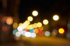 La ciudad de la noche enciende el bokeh Fondo fotos de archivo