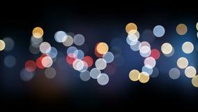 La ciudad de la noche enciende el contexto hermoso de Bokeh inconsútil La animación colocada 3d del centelleo colorido se enciend almacen de metraje de vídeo