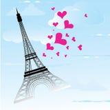 La ciudad de París en la tarjeta de Francia como amor y romance del símbolo viaja Fotografía de archivo libre de regalías