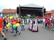 La ciudad de Silute celebra 507 años de día de la existencia, Lituania Foto de archivo libre de regalías