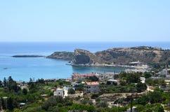 La ciudad de Stegna en Rodas, Grecia Foto de archivo