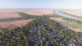 La ciudad de Vilkovo, región de Odessa, Ucrania, visión aérea en el tiempo de verano almacen de metraje de vídeo