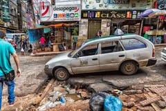 La Ciudad del Este es una ciudad en el este de Parguay en la frontera con el Brasil en el cual el comercio se actúa predominante imagen de archivo libre de regalías