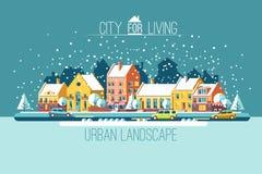 La ciudad en vacaciones de invierno Imagen de archivo libre de regalías