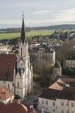 La ciudad encantadora de Melk en Austria según lo visto de la abadía Imágenes de archivo libres de regalías