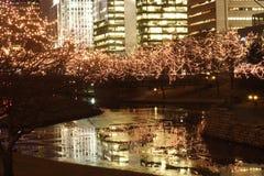 La ciudad enciende la reflexión Fotos de archivo