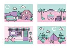 La ciudad minimalistic moderna estilizada del vector pone ejemplos Granja, playa, tienda de la panadería, acampando Stock de ilustración