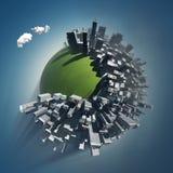 La ciudad ocupa el planeta verde ilustración del vector